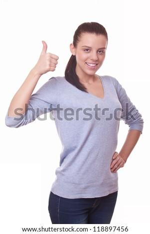 woman showing hand with thumb up, symbol it is ok - stock photo