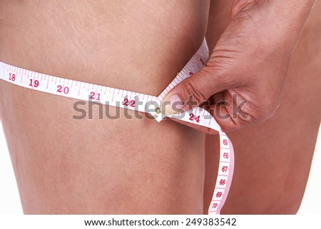 Woman showing her cellulite on white background.