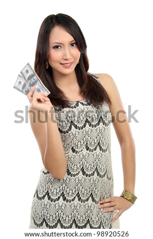 woman showing  money isolated on white background - stock photo