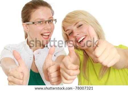 woman showing OK - stock photo