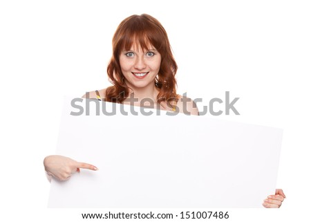 woman showing on the message on blank billboard on white background