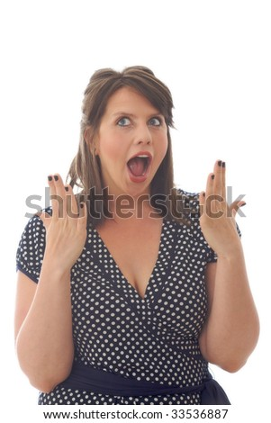 Woman showing surprise, isolated on white background. - stock photo