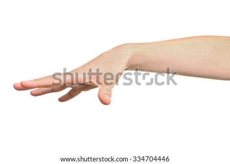 woman showing with her hand that she released something isolated on white.