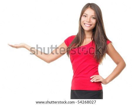 Woman Showing Your Product isolated on white. - stock photo