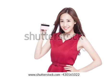 woman shows her credit card, Asia beauty - stock photo