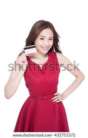 woman shows her credit card ,asia beauty - stock photo