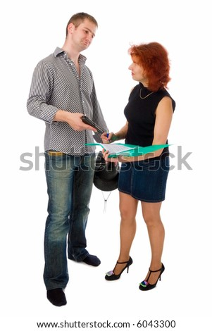 woman signing business papers under pressure of young man with a gun, isolated on white