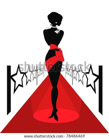 Woman silhouette on a red carpet with lights. Isabelle series - stock photo