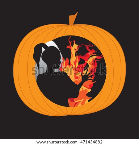 woman silhouette pumpkin bright fire abstract art illustration creative modern mystic spiritualism, witchcraft magic Halloween   black background bitmap image