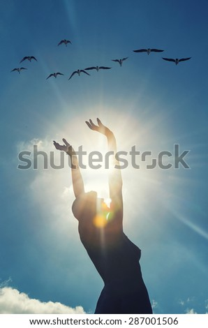 woman silhouette  with hand open wide and birds flying above,sun rays ,sun greeting ,freedom and joy,liberty and freedom for woman