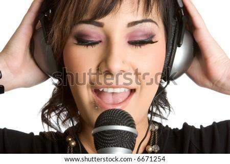 Woman Singing - stock photo