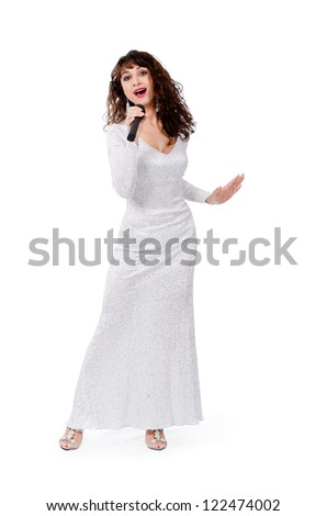 woman sings in mike - stock photo