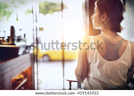 Woman Sitting Coffee Shop Relaxation Concept