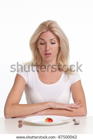 Woman sitting in front of an empty dish. Diet concept. - stock photo