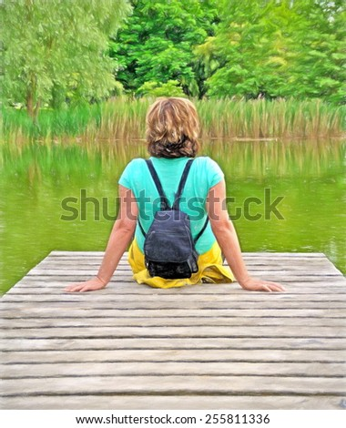 woman sitting on wooden landing  - illustration based on own photo image - stock photo