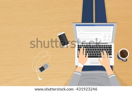 Woman sitting with laptop on the floor and working on computer. Female hands type a message in social networks. Illustration top view of girl work or relaxing at home using laptop and typing - stock photo