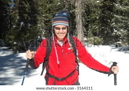 Woman Skiing - stock photo