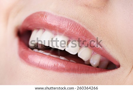 Woman smile, close up - stock photo