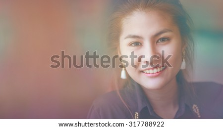 woman smiling Asia face country black shirt retro color blur background