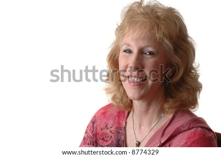 woman smiling, isolated over a white background - stock photo