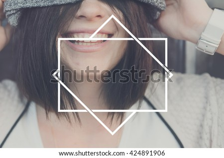 Woman Smiling Laughing Happiness Concept - stock photo