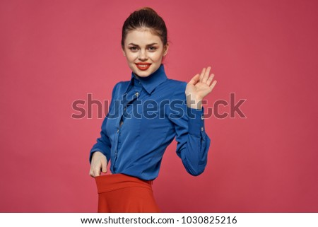 woman smiling on a pink background, fashion