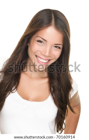 Woman smiling - pure natural beauty. Asian Caucasian woman isolated on white background. - stock photo