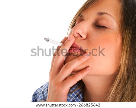 Woman smoking cigarette isolated on white background
