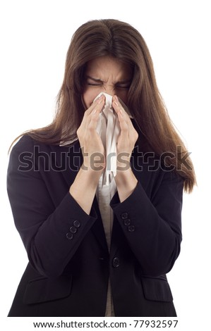 Woman sneezing nose having cold isolated over white background - stock photo