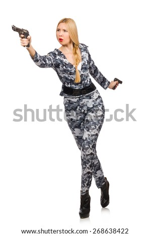 Woman soldier isolated on white - stock photo