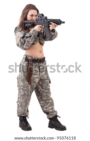 Woman soldier with gun, isolated on white background - stock photo