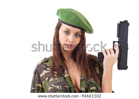 Woman soldiers with guns in green hat, isolated on white background - stock photo