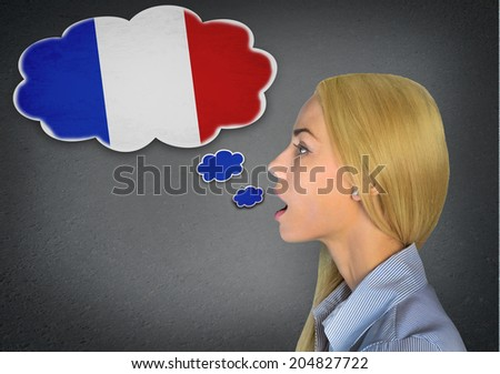 Woman speaking french in bubble - stock photo