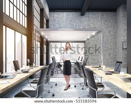 Woman standing in New York City open office with meeting room with glass walls. Concept of the boss always monitoring your work and no privacy. 3d rendering