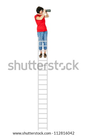 Woman standing on the ladder and looking into the distance with binoculars - stock photo