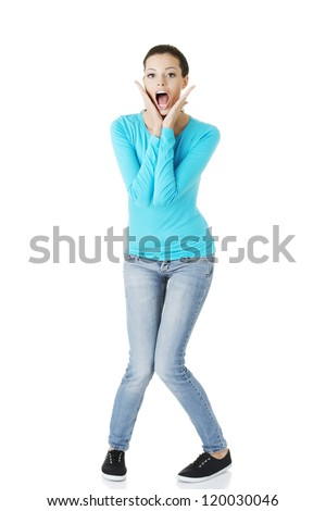 Woman stressed is going crazy in frustration. - stock photo
