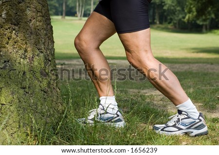 Woman stretching her legs