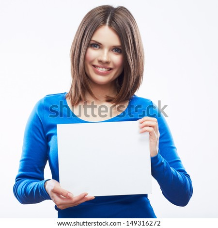 Woman student hold white blank card isolated on white background. Girl model poses. - stock photo