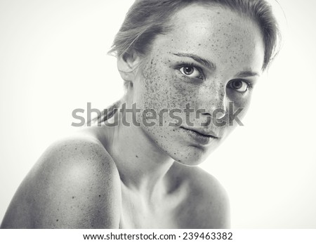 Woman studio beauty portrait black and white with long hair  - stock photo