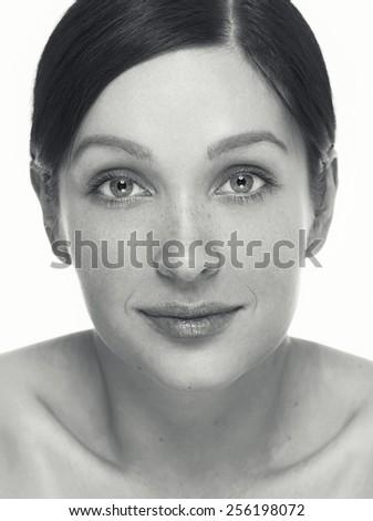 Woman studio face portrait black and white healthy skin - stock photo