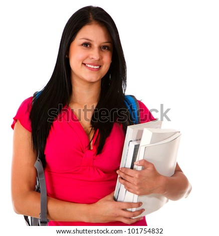 Woman studying and carrying notebooks - isolated over white - stock photo