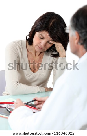 Woman suffering from migraine - stock photo