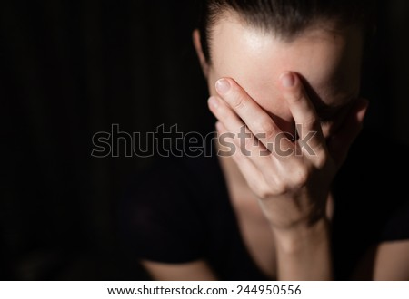 Woman suffering from stress - stock photo
