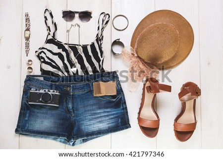 Woman summer outfit and accessories - stock photo