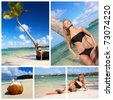 Woman sunbathing on caribbean beach collage - stock photo