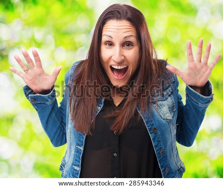 woman surprised isolated - stock photo