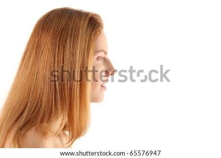 woman surprised isolated on white background - stock photo