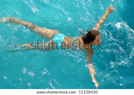 Woman swimming in water pool