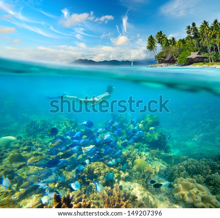 Woman swims around a beautiful coral reef surrounded by a multitude of fish on the background Islands.  - stock photo