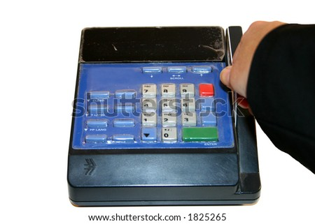woman swiping atm card - stock photo